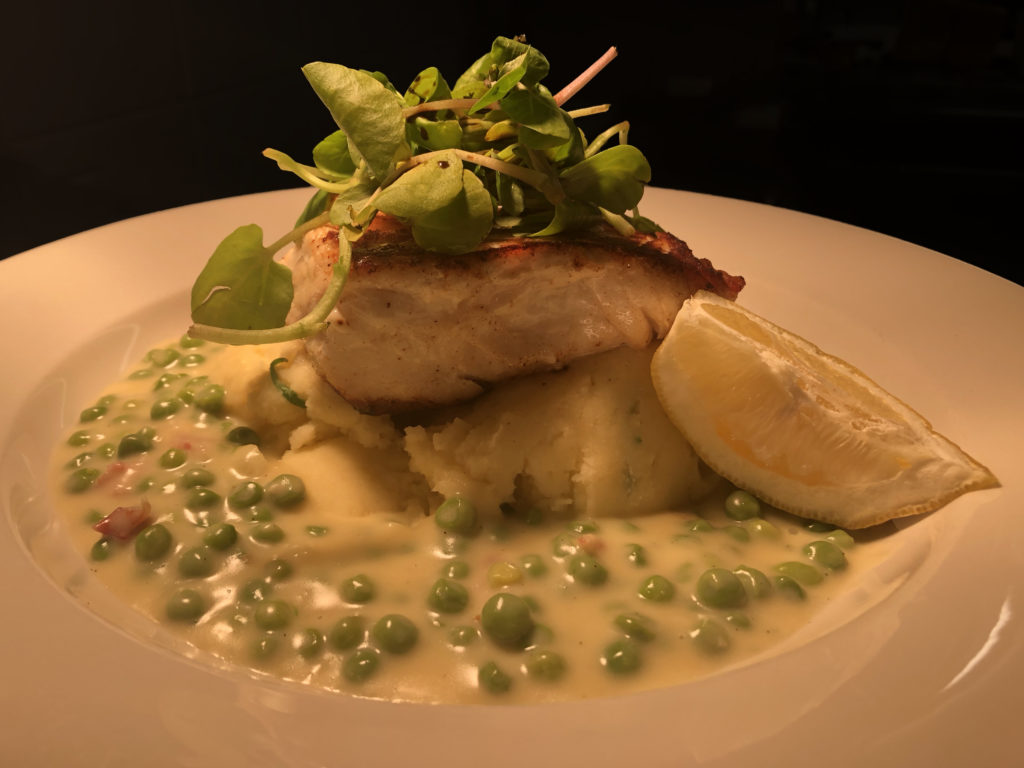 Pan Roasted Cod with a Pea & Pancetta Sauce